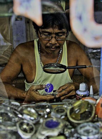The Watch Repairman, Mr. Djamaludin Mohamad at Old market Gorontalo. Street Photography People EyeEm Indonesia
