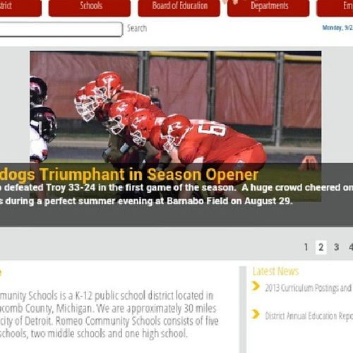 Aha ty is on the Romeo website! Football Romeowebsite Frontpage