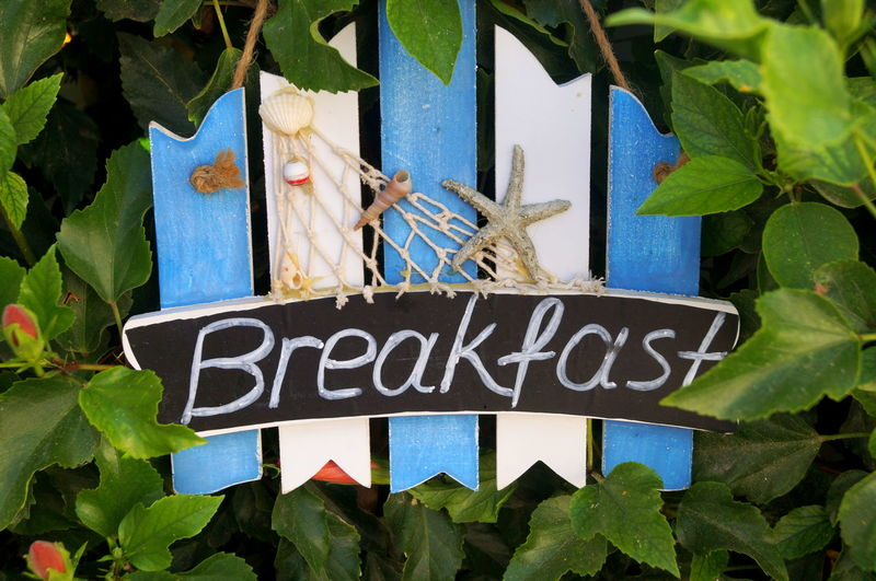 Close-Up Of Breakfast Sign Hanging On Fence Amidst Plants