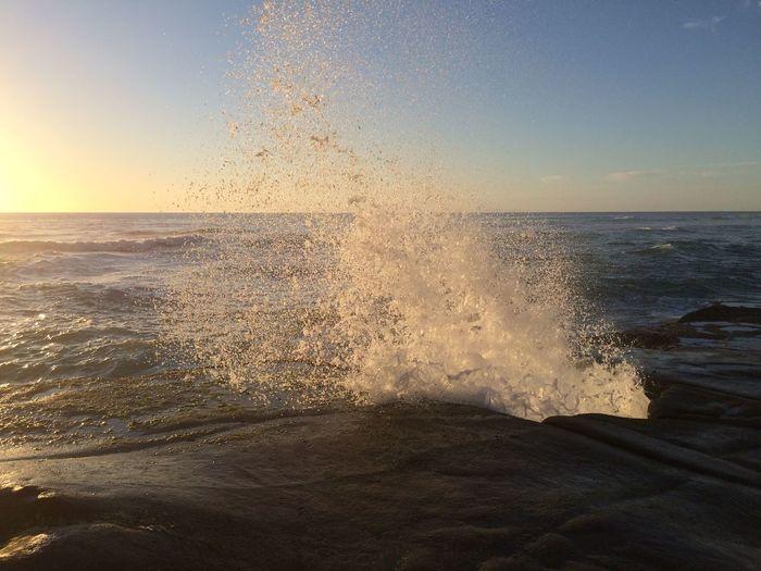 Big Splash Wave Water Power In Nature Crash Sea Sunset Beach Motion Sand Breaking Seascape Horizon Over Water Ocean Splashing Rough Rugged
