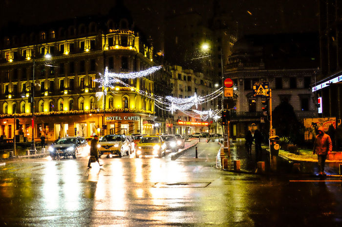 Street photography Architecture Bucharest Building Exterior Built Structure City Illuminated Lihts And Shadows Night Night Lights Nightphotography No People Outdoors Street Photography Travel Destinations Victoriei