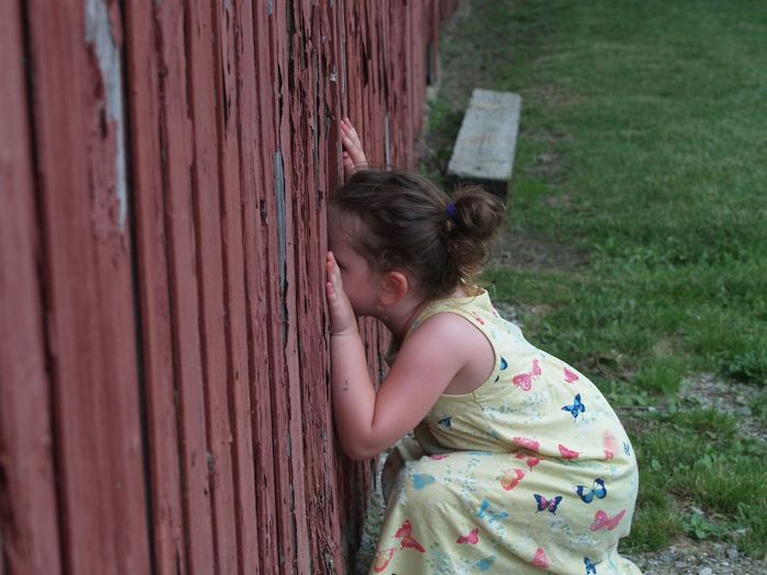 Child Looking Through Fence