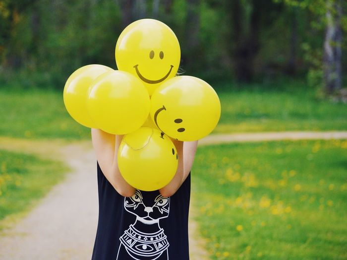 BYOPaper! Balloon Yellow Outdoors Day Anthropomorphic Smiley Face Childhood Fun One Person Lifestyles People Smiley Summer Summertime Girl Balloons Funny Social Media Paint The Town Yellow