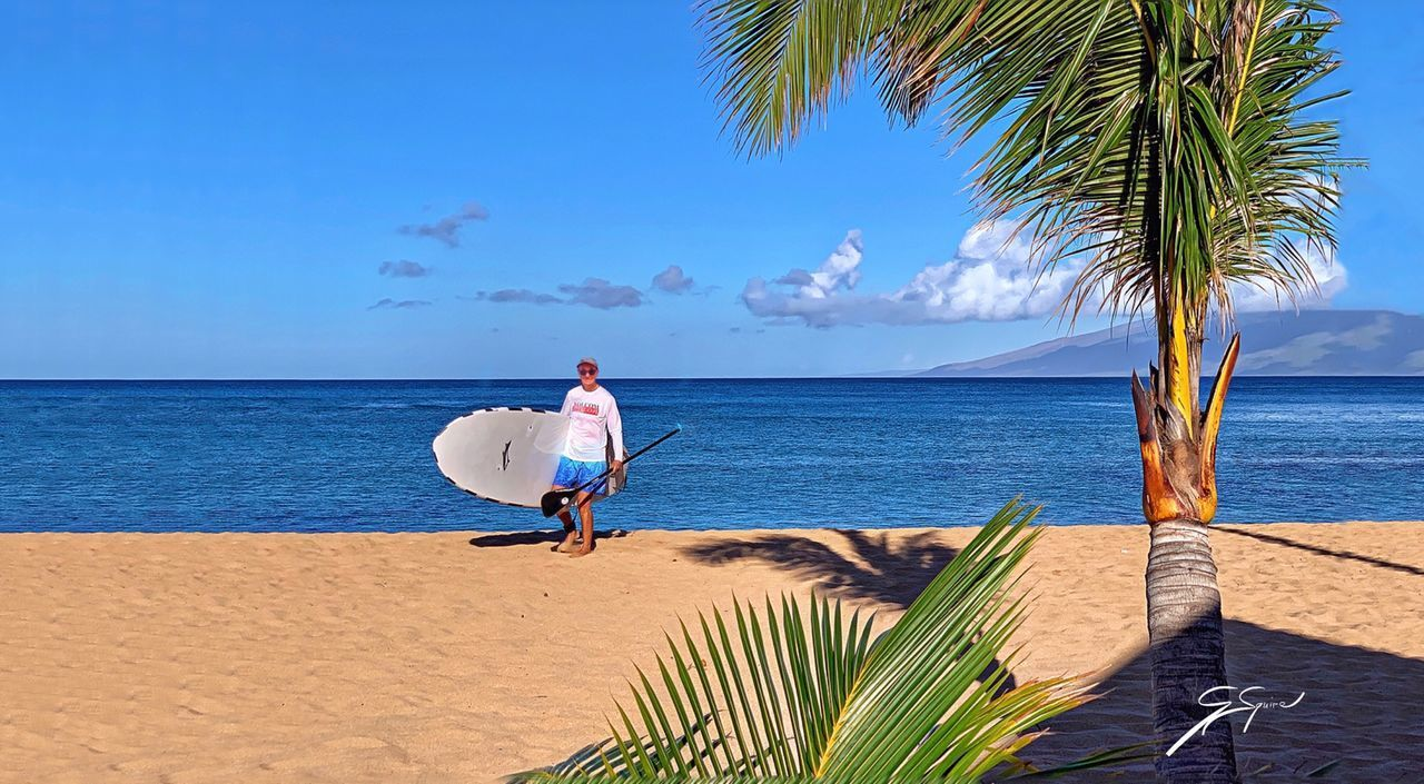 REAR VIEW OF MAN ON PALM TREE AT BEACH