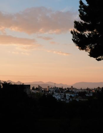 Roadtrip around Andalusia/Spain. 2nd Stop: Granada Sunset Sky Silhouette Cloud - Sky Architecture City Nature Tree No People Beauty In Nature Orange Color Plant Scenics - Nature Cityscape Outdoors Landscape Tranquil Scene Travel Travel Destinations Traveling Granada, Spain Andalusia
