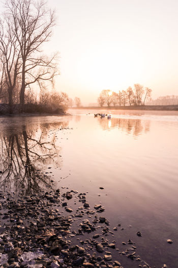 A beautiful winter morning at the Ruhr in Essen. Beauty In Nature Day Deutschland Essen Germany Nature Nature No People Outdoors Reflection River Ruhrgebiet Scenics Sky Sunrise Sunset Tranquil Scene Tranquility Tree Water Winter