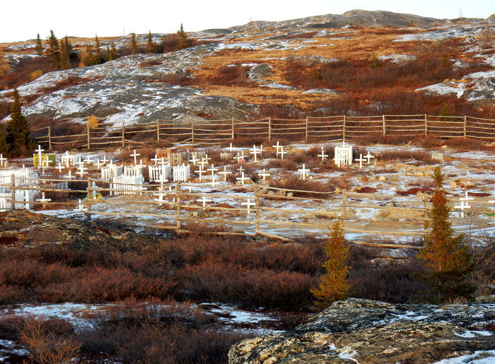 Cemetery of Kuujjuaq on a mountain side surrounded by wood fences Northern Quebec Kuujjuaq Architecture Mountain Day Nature Built Structure No People Plant Building Exterior Environment Land Beauty In Nature Winter Building Outdoors Snow Tree Cold Temperature Water Landscape Cemetery Photography Cemetery_shots Cemetery