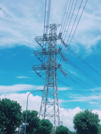 Sky Cloud - Sky Low Angle View Electricity  Tree Technology Nature Plant Electricity Pylon No People Power Supply Day Outdoors Blue Power Line  Growth Fuel And Power Generation Connection Built Structure Cable