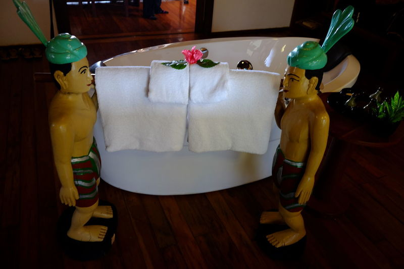 Unusual Bath Towel Rack! Bath Bathroom Composition Full Frame Full Length Fun Hostel Hotel Hotel Room Human Representations Indoor Photography Inle Lake Interior Decoration Interior Design Interior Style Myanmar No People Tourism Tourist Attraction  Towel Rack Towels Travel Destination Two Statues Unusual