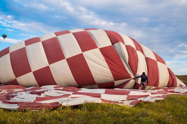 Hot air balloon against sky