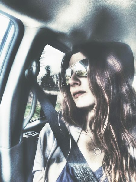 Car Car Interior Vehicle Interior Transportation Mode Of Transport Sunglasses Land Vehicle Young Adult One Person Day Young Women Portrait Road Trip Beautiful Woman Sitting Close-up Adult Outdoors People Adults Only Looking Away Afar Journey Travel Photography
