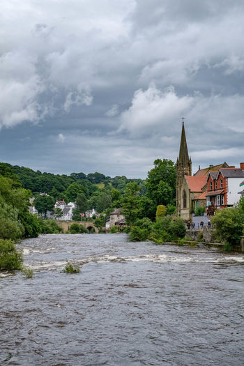 Architecture Built Structure Church Spire Cloud Cloudy Colour Green Day Landscape Llangollen Llangollen Bridge Llangollen Methodist Church Nature No People Outdoors Overcast Skies River Dee  Sky Tree Trees Urban