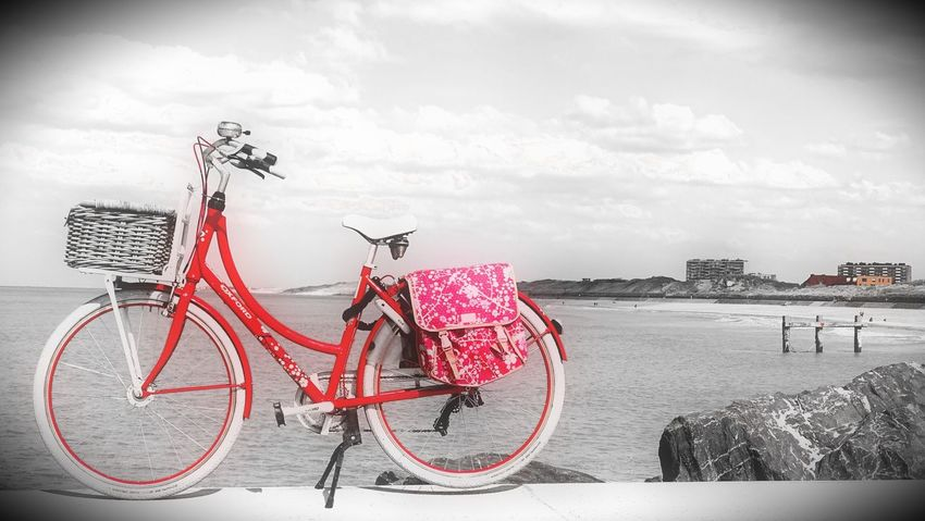 Red Riding Bike Taking Photos Oostende, Belgium Being Creative. Expressing Myself. EyeEm Best Edits EyeEm Best Shots Infinite Sadness My Art, My Soul... My Unique Style Popular Photos At The Beach Seascape Tranquil Scene
