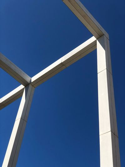 Concrete Blue Sky Clear Sky Low Angle View No People Day Sunlight Architecture Built Structure Outdoors Sunny Copy Space Connection Development Industry Bridge - Man Made Structure Shape
