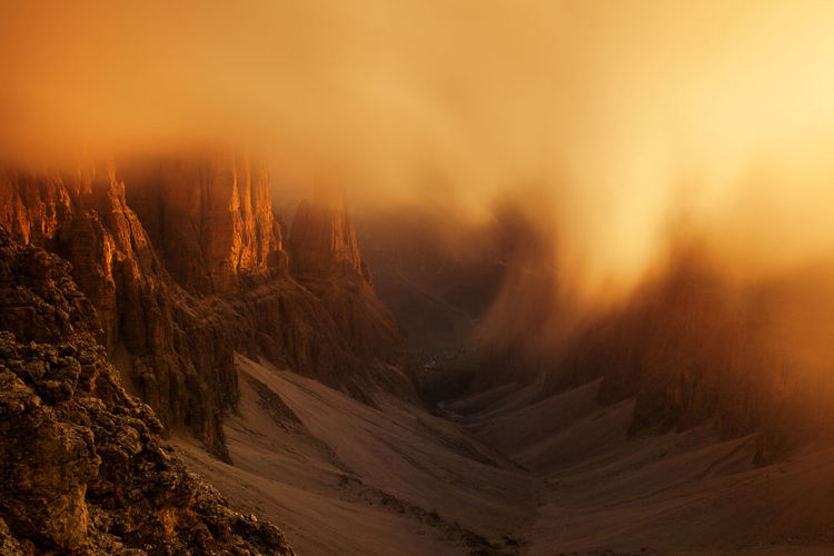 Landscapes from Dolomite Mountains, Italian Alps. Alpine Alps Beauty In Nature Clouds Dolomites Europe Fog Foggy Geology Italy Landscape Light Morning Mountain Nature Orange Outdoors Photography Rocky Sunrise Sunset View