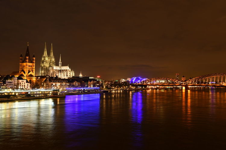 Cathedral Cologne Cologne , Köln,  Deutschland Köln Kölner Dom Riverside Architecture Bridge - Man Made Structure Built Structure Bulb Bulbphotography Bulbs City Cityscape Darkness And Light Fluss Germany Illuminated Langzeitaufnahme Langzeitbelichtung Night River Travel Destinations Waterfront Stories From The City