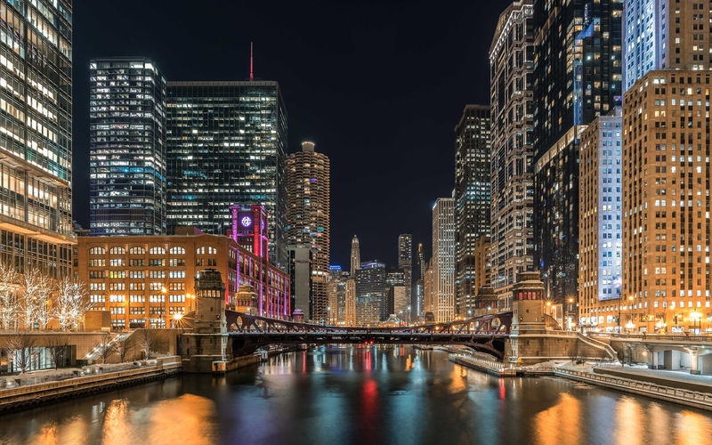Chicago Riverfront Chicago Chicago Skyline Skyline Architecture Building Exterior Built Structure City Illuminated Long Exposure Night No People Outdoors