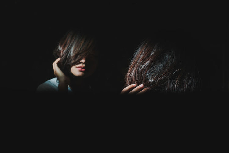 My Best Photo Black Background Headshot Portrait Women Indoors  Emotion Reflection Close-up People Dark Glitch Young Adult Hair Copy Space Hairstyle Black Hair Domestic Room Bangs Innocence Depression - Sadness Sad Sadness Sad & Lonely Woman