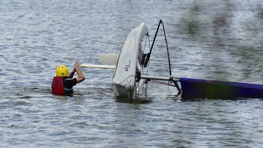 Nautical Vessel Water Transportation One Person Adult Sailing Club Broxbourne Sailing Club RescueReal People Capsized