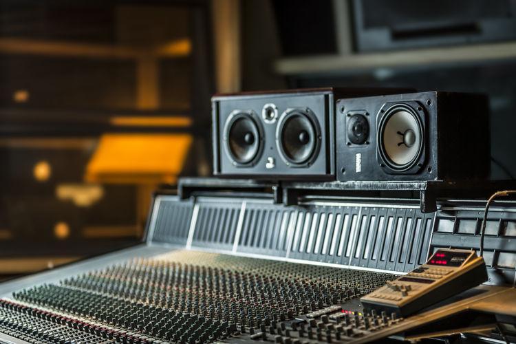 Sound recording equipment in studio