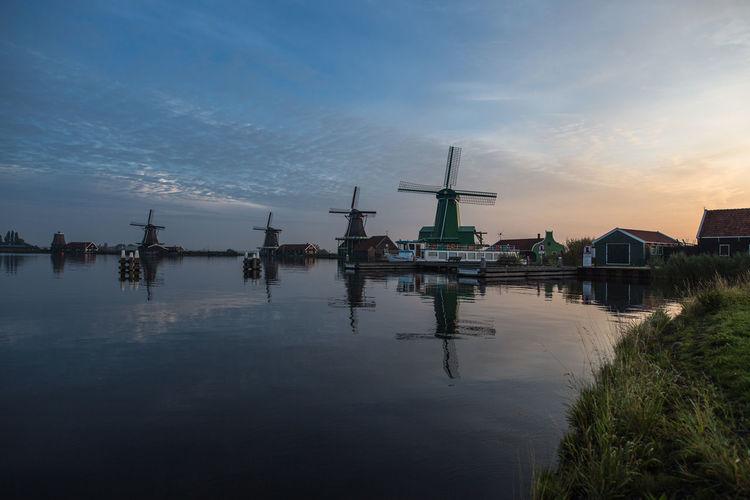 Nature Nederland Netherlands Sunet Windmill Windmills WindmillsS Zaanse Schans Architecture Built Structure Cloud - Sky Landscape Nature Nederlands Niederlande No People Outdoors Sky Water Zaanstad