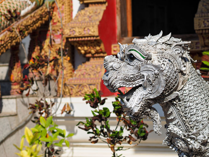 Statue Of Dragon Against Temple