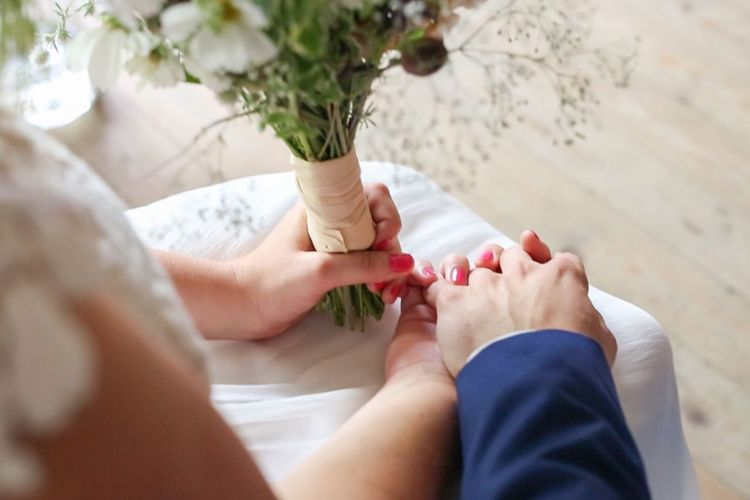 Wedding Wedding Photography Wedding Day Holding Hands Flowers Buket Altar Sitting Down Getting Married Wedding Dress Suit Love Nervous Dedication Promise Togetherness Together Forever