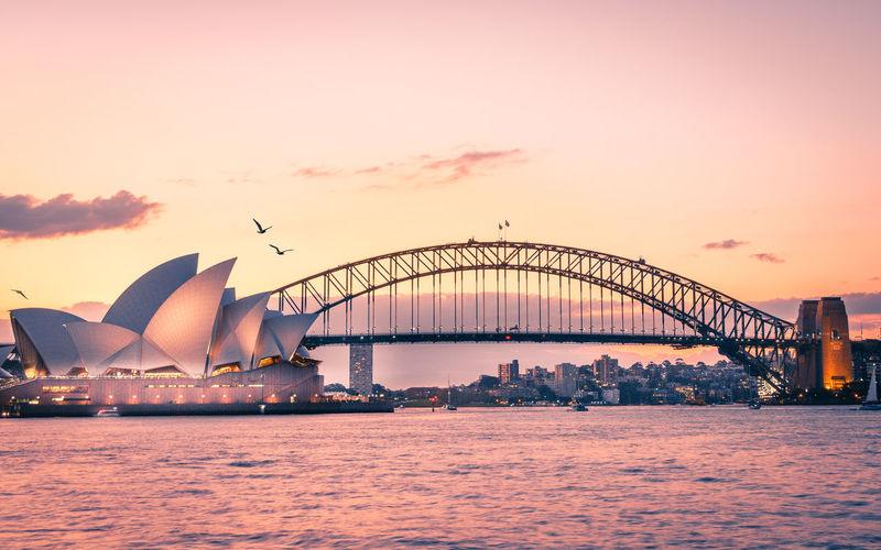 Sydney Sydney Opera House Sydney Harbour Bridge Sydney, Australia Sunset Golden Hour Reflections Burningsky Igers Instagram Australia Visitsydney Travelphotography EyeEmNewHere