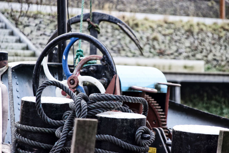 Close-up of ropes on boat