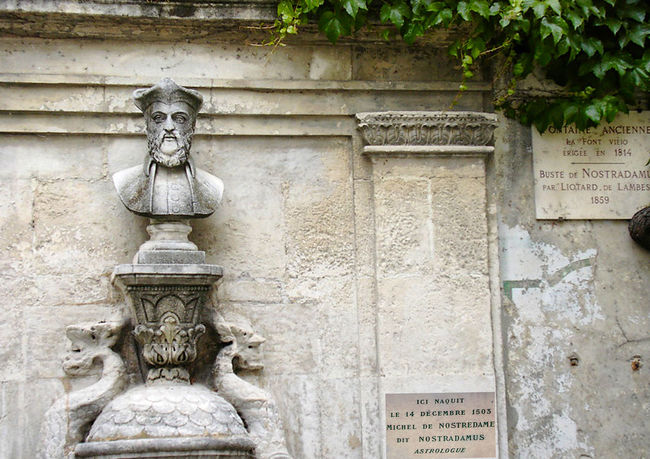 Bust of Nostradamus in a very hard to find place in Avignon, France Avignon, France Architecture Art And Craft Building Exterior Built Structure Bust Of Nostradamus Close-up Day Human Representation No People Nostradamus Outdoors Sculpture Statue Stone Material Text