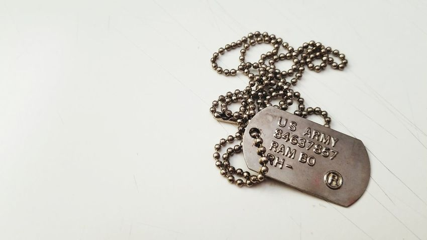 Dogtags Rambo Chain No People Metal Indoors  White Background Close-up