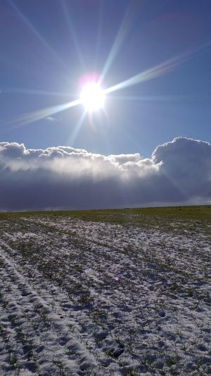 Winter Field Snow Cloud Sun Sunlight Beauty In Nature Scenics Nature Tranquility Outdoors