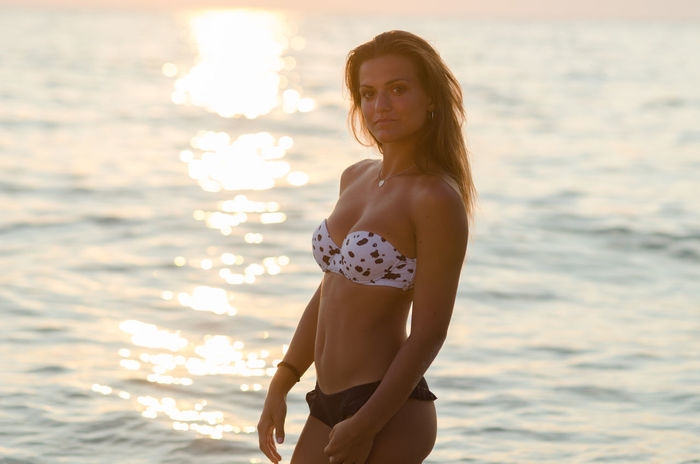 Beautiful Beautiful Girl Beauty Bikini Blonde Dress Femininity Focus On Foreground Girl Leisure Activity Lifestyles Long Hair Person Sand Sand & Sea Sea Shine Standing Sun Sunset Sunset #sun #clouds #skylovers #sky #nature #beautifulinnature #naturalbeauty #photography #landscape Three Quarter Length Water Young Adult Young Women