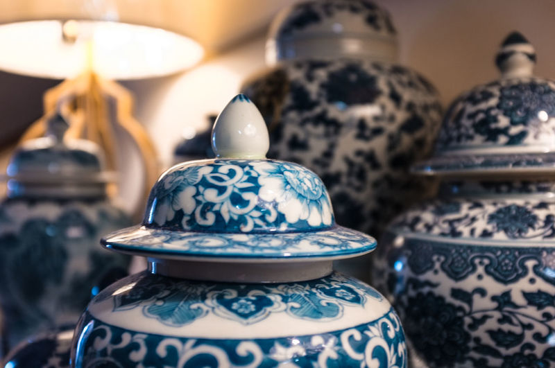 A close up blue and white china ceramic ware