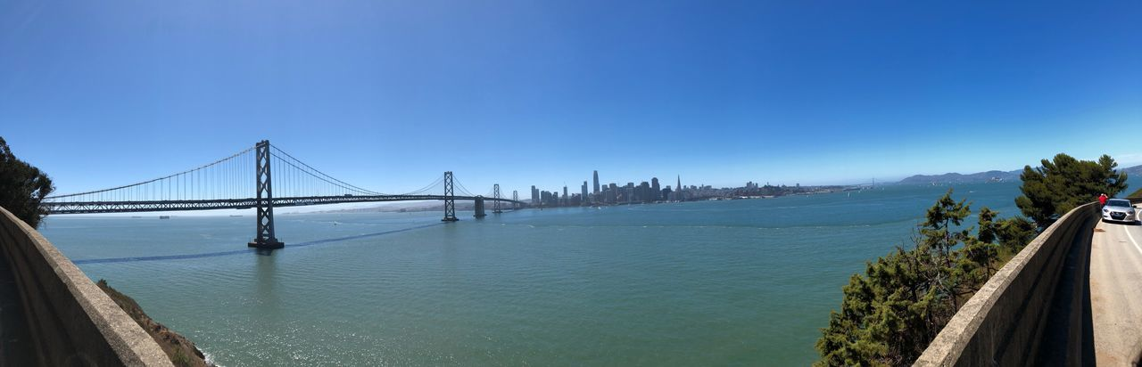 A view from treasure island Travel Destinations Travel San Francisco City Oakland Bay Bridge Water Sky Bridge Connection Blue Bridge - Man Made Structure Nature Architecture Built Structure Clear Sky Sea No People Beauty In Nature Suspension Bridge Scenics - Nature Tranquility Outdoors Day