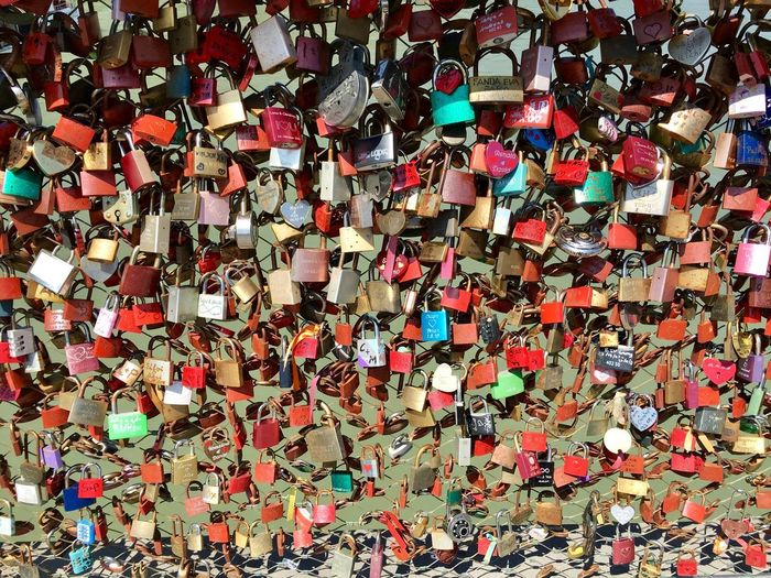 All You Need Is Love Lockers Bridge Eternity Eternal Love Love Full Frame Backgrounds Abundance Multi Colored Large Group Of Objects No People Wall - Building Feature Positive Emotion Emotion Variation Love Heart Shape Pattern