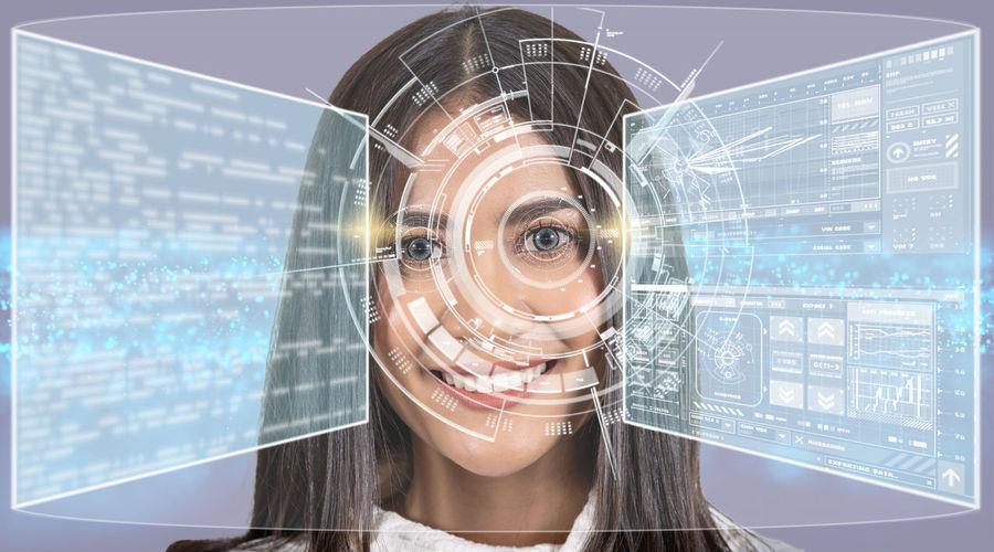 Close-up portrait of woman seen through glass