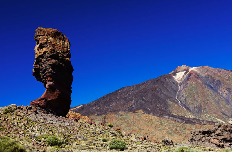 Rock Formations At El Teide National Park Against Clear Blue Sky