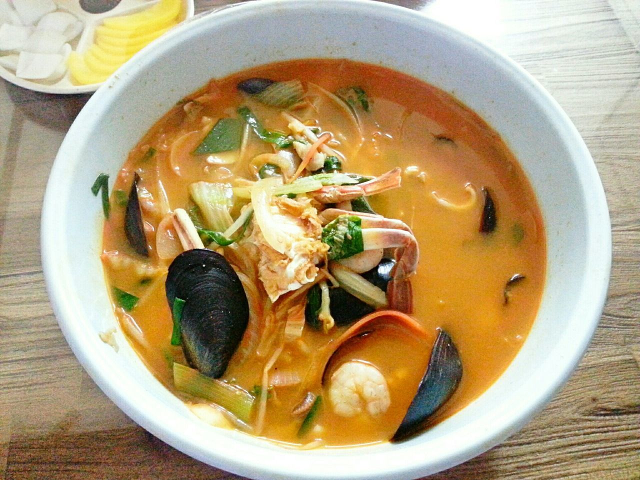 soup, food and drink, bowl, food, table, healthy eating, ready-to-eat, noodle soup, freshness, indoors, noodles, no people, serving size, soup bowl, high angle view, close-up, day, vegetable soup