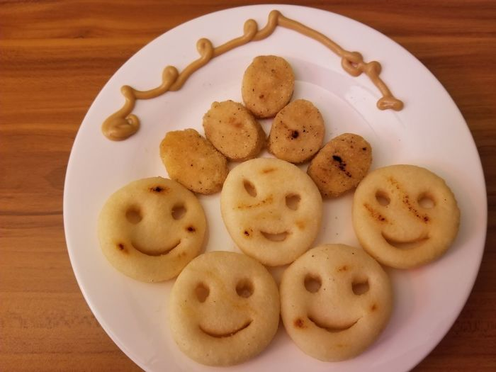 Having Fun with Food Chicken Potato Smiley Mustard Taters Fun With Food Fun Food Smiley Face No People Plate Table Close-up