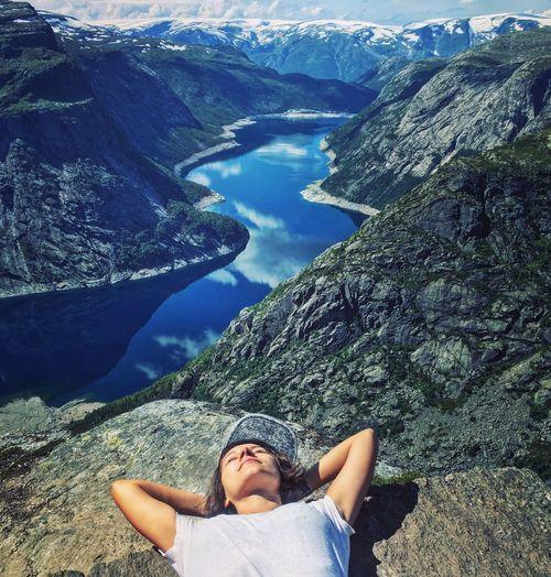 A Bird's Eye View Trolltunga Norway Women Around The World The Portraitist - 2017 EyeEm Awards An Eye For Travel Visual Creativity #FREIHEITBERLIN International Women's Day 2019
