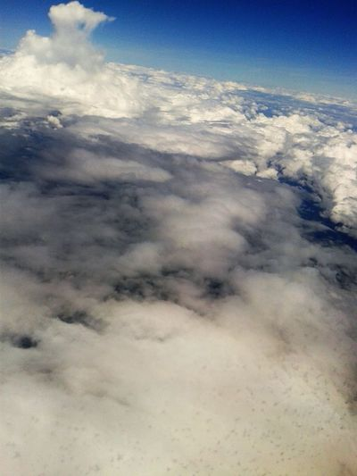 A view from the sky Above Sea Level Air Blue Clear Skies, Sun Shining Cloud - Sky Flying Traveling White Clouds And Blue Sky