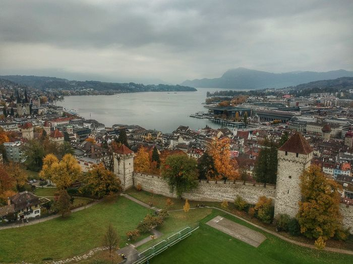 The view from the Museggmauer's Park - Lucerne, Switzerland 2018 Switzerland DJI X Eyeem Dji Spark Dronephotography Museggmauer Musegg Wall Sky Water Cloud - Sky Nature Architecture Sea High Angle View No People Transportation Day Outdoors Beauty In Nature Scenics - Nature City Built Structure Plant Building Exterior Tree Land Bay
