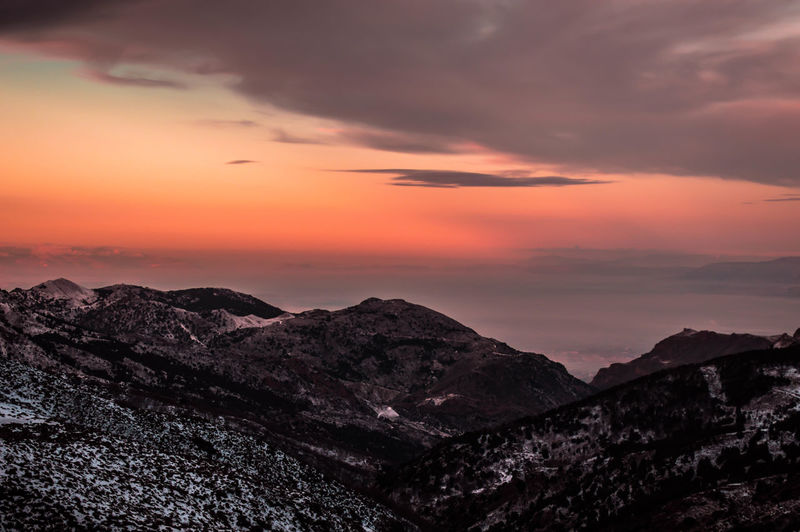 Astronomy Beauty In Nature Cloud - Sky Dramatic Sky Forest Hiking Landscape Mountain Mountain Peak Mountain Range Mountain Ridge Nature Night Nikon D3200 Nikonphotographer Nikonphotography No People Outdoors Pine Woodland Scenics Sky Snow Sunset Travel Destinations Vacations