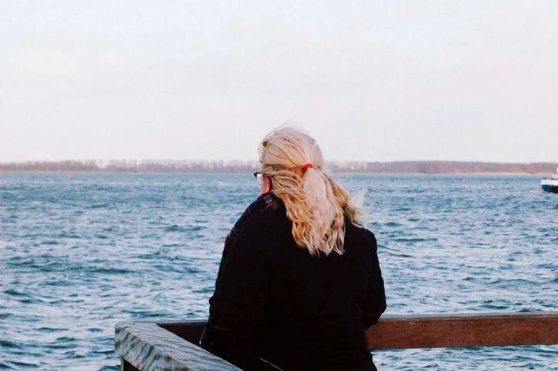 Blond Hair Sea Water Women Beach Long Hair Sky Wavy Hair Horizon Over Water Shore Wave