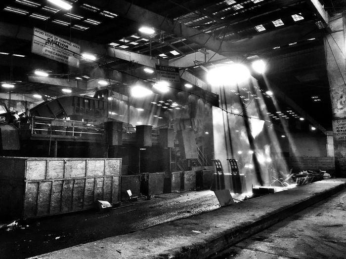 Refuse or Beauty? Illuminated No People Architecture Indoors  Night Built Structure IPhoneography Architecture Shafts Of Sunlight Iphonephotography The Dump Refuse Full Frame Blackandwhite Black And White Black & White Blackandwhite Photography Garbage Garbage Collection Beauty In Refuse Backgrounds Large Spaces Sorting