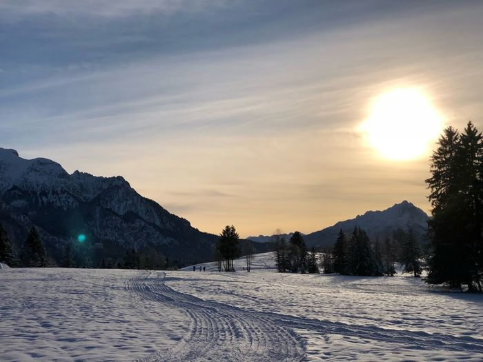Allgäu Snow Winter Cold Temperature Weather Nature Scenics Tranquil Scene Beauty In Nature Tranquility Sky Mountain Sunset Landscape Shades Of Winter