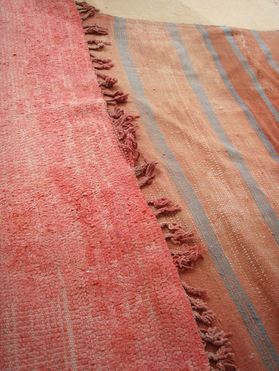 Adventure Africa Arid Climate Art Close-up Detail Full Frame Lines Marrakech Medina Morocco Pattern Red Rug Rugs Textured  Travel Warm Colors