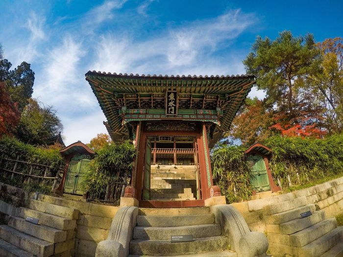 Architecture Built Structure Cloud - Sky Low Angle View Steps Sky Building Exterior Day Religion Tree Outdoors History No People Spirituality Travel Destinations Roof Place Of Worship Nature Ancient Civilization