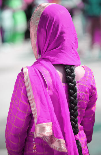 Indian woman with purple dress and long black hair ASIA Colored Colors Dress File India Pakistan Woman Cerimony Clothes Clothing Colored Clothing Colored Dress Female Girl Lifestyles One Person Outdoors Pink Color Real People Sikh Sikh Girl Sikh Woman Sikhism Sikhlife
